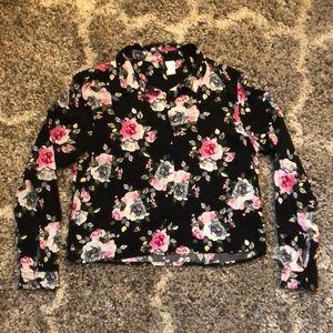 Divided Black Floral Button Down Crop Blouse